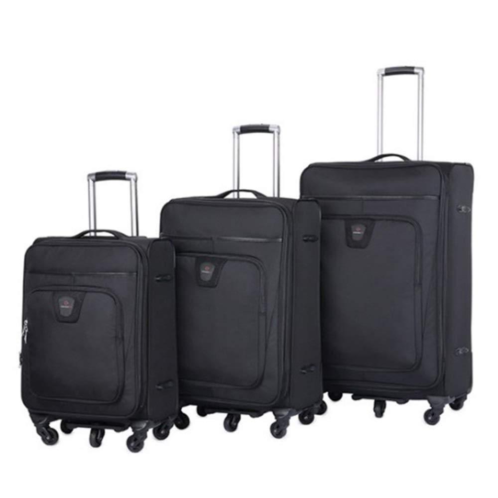 プッシュボックス,トロリースーツケース荷物エアボックススーツケース オックスフォード生地荷物3ピース入れ子セット20インチ24インチ28インチソフトサイド拡張式アップライトキャリースーツケースソフトシェル軽量360°サイレントスピナー多方向ホイール(旅行用飛行機でのフライトとチェックイン) トロリーケース エアボックス (色 : ブラック, サイズ : 20in+24in+28in) B07SLZVY5G ブラック 20in+24in+28in