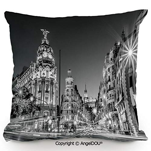 AngelDOU Throw Pillow Cotton Linen Pillow Cover and Inserts,Madrid City Night Spain Main Street Ancient Architecture Decorative,Modern Home Office Sofa Bed Nice Decor.13.7x13.7 inches ()