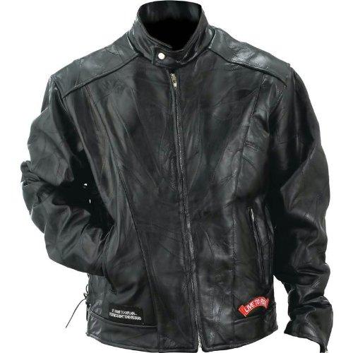 Diamond Plate Leather Motorcycle Jacket- 4X