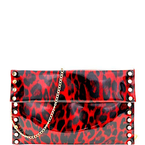 Leopard Tiger Print PU Leather Suede Clear Envelope Flap Slim Large Clutch Purse with Chain Strap