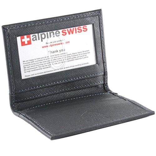alpine swiss Men's Thin Front Pocket Wallet Business Card Case 2 ID Window 6 Slot, Crosshatch Gray, One Size