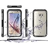 FAVOLCANO® Samsung Galaxy S6 Edge Waterproof Case, Premium Waterproof Shockproof Dirt Snow Proof Durable Water Resistant Full-body Case Cover for Samsung Galaxy S6 VI Edge (Black)