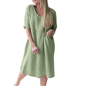 52cc3d6043 Amazon.com: Women Simple Shift Dress - Ladies Plus Size Loose Scoop ...
