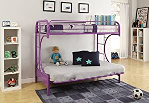 ACME Furniture 02091W-PU Eclipse Futon Bunk Bed, Twin/Full, Purple