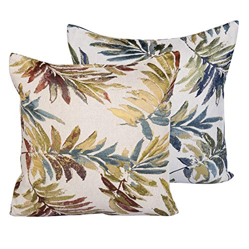 AGUDAN Set of 2 Home Decorative Square Throw Pillow Covers Farmhouse Natural Jacquard Cushion Cases for Sofa Couch 18x18 Inches/12x20 Inches