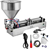 LOVSHARE Cream Filling Machine 100-1000ml Liquid Filler 30L Pedal Pneumatic Paste Filling Machine for Paste High-viscosity Single Head Horizontal Semi-auto Filling Machine with Funnel