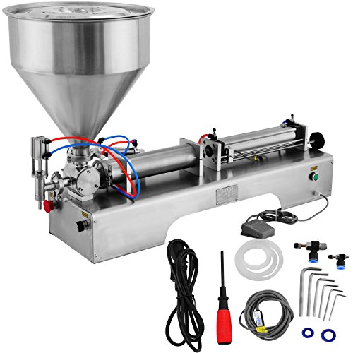 LOVSHARE Cream Filling Machine 100-1000ml Liquid Filler 30L Pedal Pneumatic Paste Filling Machine for Paste High-viscosity Single Head Horizontal Semi-auto Filling Machine with Funnel (Cream Sausage)