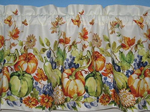 Orange Blue Vegetable Fruits Handmade Cotton OFF WHITE Window Curtain Valance