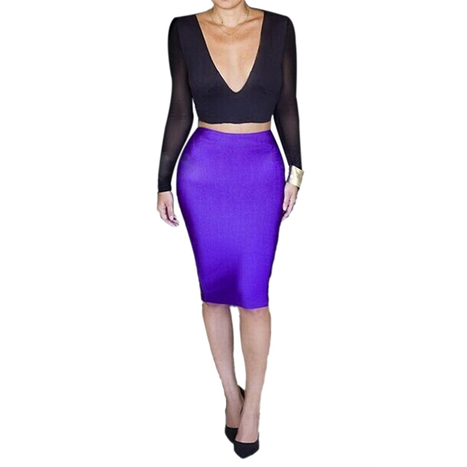 Black Purple Color Women Sexy New Bodycon Mesh Long Sleeve Top Two Piece Dress