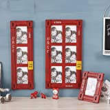 6/3 multi-frame photo wall retro 6-inch combination photo frame photo wall photo frame home decoration American country (Color : Red, Style : Six boxes)