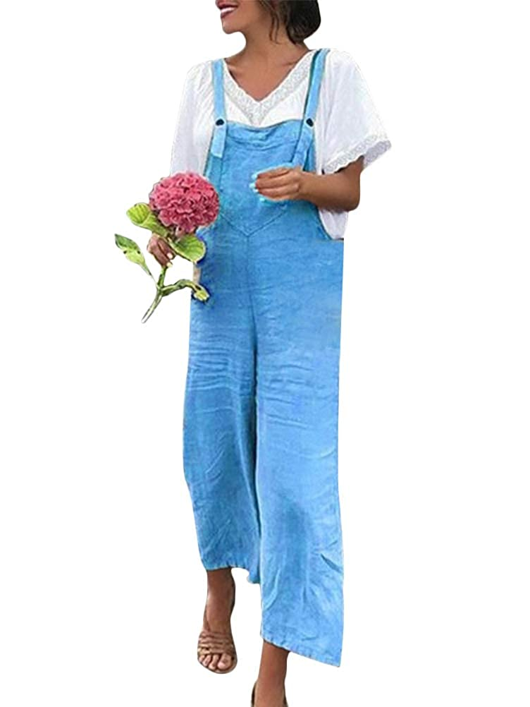 Romose Womens Linen Overalls Dungarees Baggy Sleeveless Jumpsuits Playsuits Plain Loose Wide Leg Rompers