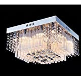 Saint Mossi® Crystal Rain Drop Chandelier Modern & Contemporary Ceiling Pendant Light 12*G9 Bulbs Required H10 X W16 X L16