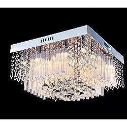 Saint Mossi Chandelier Modern K9 Crystal Raindrop Chandelier Lighting Flush mount LED Ceiling Light Fixture Pendant Lamp for Dining Room Bathroom Bedroom Livingroom 12G9 Bulbs Required H10 X W16 X L16