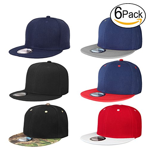 Falari Wholesale 6 Pack Snapback Hat Cap Hip Hop Style Flat Bill Blank Solid Color Adjustable Size (One Size, 6-Pack Assorted #3) ()