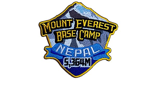 Mount Everest Base Camp Nepal Iron on Patch 3.5 Inch Embroidered Badge Applique Motif Trekking Mountain Climbing Mountaineering