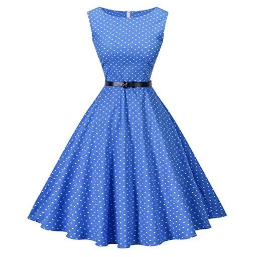 I2CRAZY Womens Boatneck Sleeveless Vintage 1950s Retro Rockabilly Prom Tea Dress with Belt