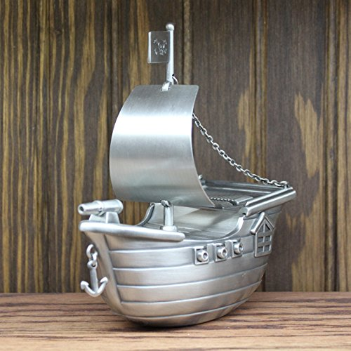 Personalized Pewter Finish Pirate Ship Piggy Bank by Center Gifts (Image #3)