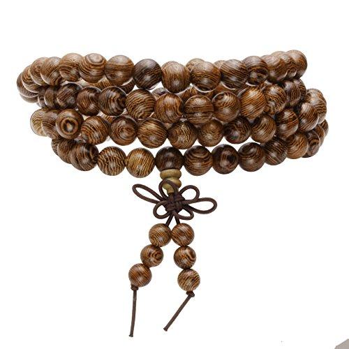MILAKOO 8mm108 Wood Beads Bracelet/Necklace Mala Prayer Buddha Meditation Link Wrist Bracelet