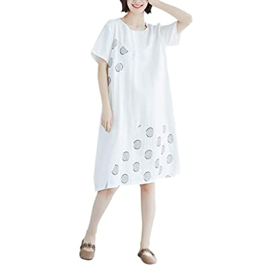 TUDUZ Mujer Elegante Vestidos Manga Corta Verano Vestido de ...