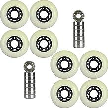 8-Pack of 83a Outdoor Inline Hockey Skate Wheels Black + 9s Bearings 72mm