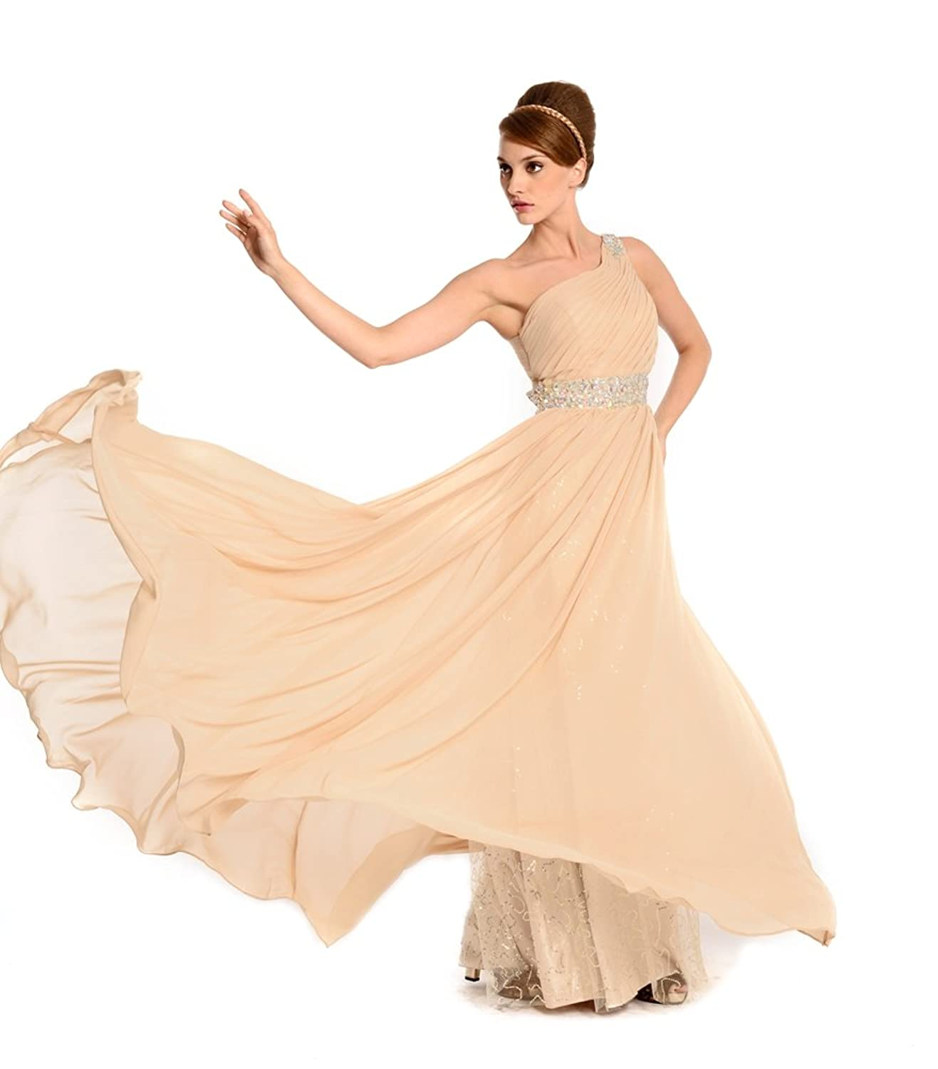 Amadeo Elegant One Shoulder Draped Beading A Line Chiffon Champagne Evening Dresses LF061