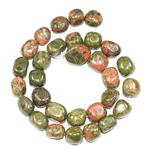 - Top Quality Natural Unakite Gemstones Smooth Round Nugget Loose Beads ~13x10mm beads (~16