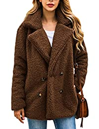 ef30d73d858 Women's Coat Casual Lapel Fleece Fuzzy Faux Shearling Zipper Warm Winter  Oversized Outwear Jackets
