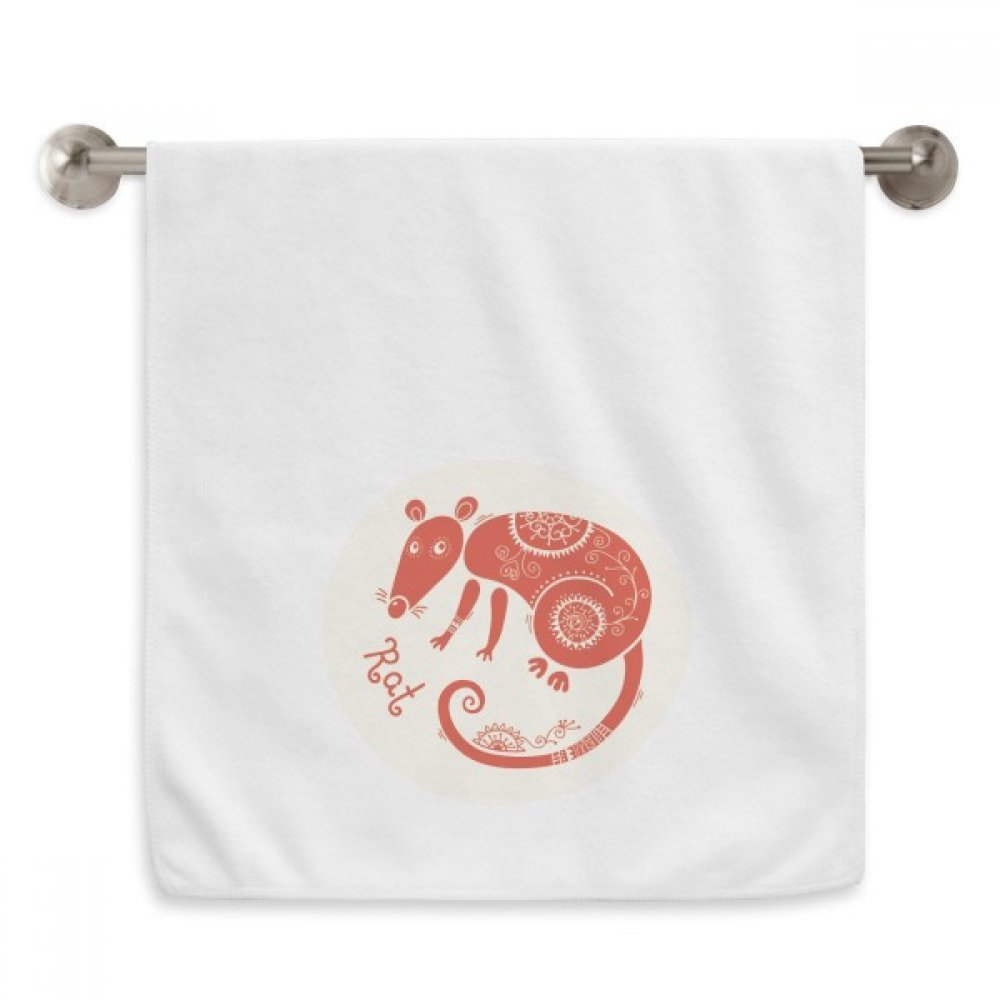 DIYthinker Year Of Rat Animal China Zodiac Red Circlet White Towels Soft Towel Washcloth 13x29 Inch