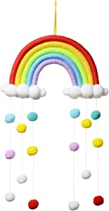 Tocawe New Rainbow Wall Decor Macrame Wall Hanging, Macrame Woven Decorative for Kids Room,Cute Wall Decor Nursery Decoration,Suitable for Festival Ornaments Toddler Gifts,Wedding (Red)