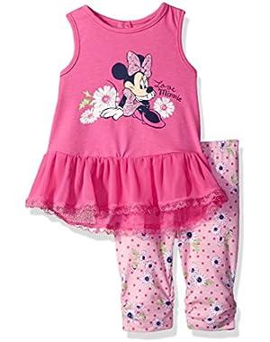 Girls' 2 Piece Minnie Mouse Crinkle Chiffon Capri Legging Set