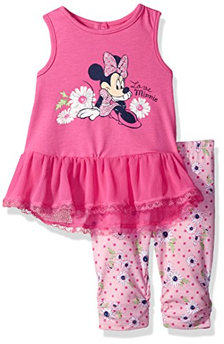 Disney Girls' 2 Piece Minnie Mouse Crinkle Chiffon Capri Legging Set, Pink, 3/6m - Crinkle Capri Set