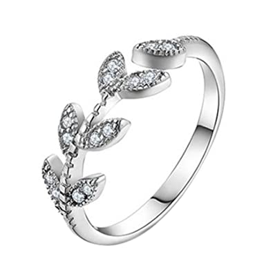 Amazon Com Qinlee Wedding Bands Leaves Crystal Adjustable Rings