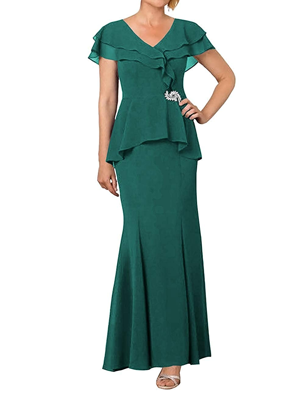 Peacock ZLQQ Womens Mother of The Bride Dress 2019 Cap Sleeve V Neck Formal Evening Gown