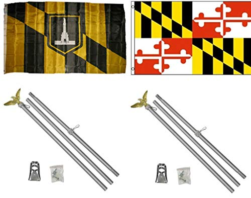 ALBATROS 3 ft x 5 ft City of Baltimore with State of Maryland Flag with 2 Aluminum with Pole Kit Sets for Home and Parades, Official Party, All Weather Indoors Outdoors -