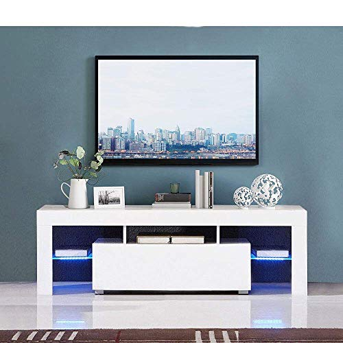 Desk High Cupboard - Henf TV Entertainment Center,Modern TV Stand Cabinet,Wine Cupboards TV Table TV Unit Gloss Cabinet with LED Light,Tea Rack Book Shelf Furniture for Living Room Bedroom White