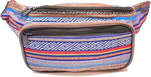 SoJourner Bags Fanny Pack - Tribal Boho Hippy Woven Eco Style (blue,