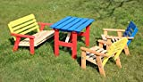 Children's Kids Wooden Garden Outdoor Chairs & Table - Set of 4 pcs. - multi colored