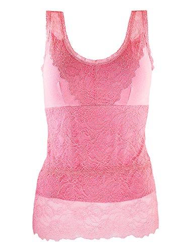 ANNY Women's Elegant Floral Lace Camisole Pink - Cotton Floral Camisole