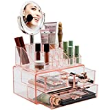 Sorbus Acrylic Cosmetic Makeup Organizer with Makeup Mirror - Jewelry Storage Case and Removable double sided 3X/1X Magnification Mirror - Spacious Design - for Bathroom, Dresser, Vanity (Pink)