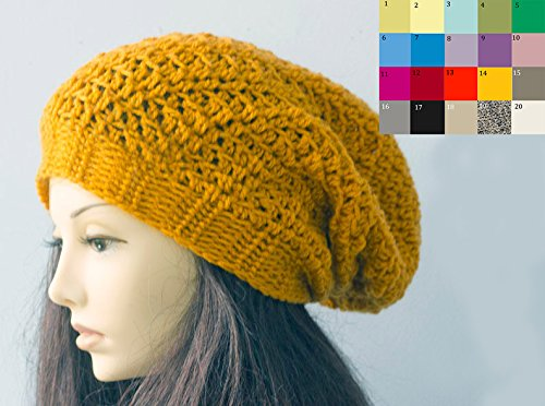 dc9939b22eb Image Unavailable. Image not available for. Color  Custom Hand Crochet  Slouchy Beanie ...