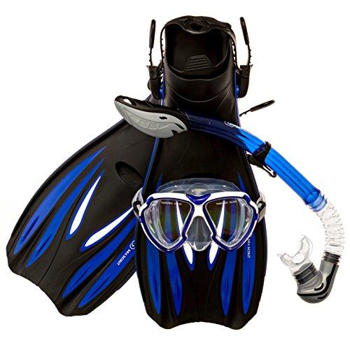 Sea Scout Adult Snorkeling Set - Dry-top Snorkel/Fins/Mask (Blue, Large)