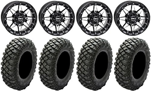 Bundle - 9 Items: STI HD5 14'' Beadlock GB Wheels 30'' Crawler XR Tires [4x156 Bolt Pattern 12mmx1.5 Lug Kit] by Powersports Bundle