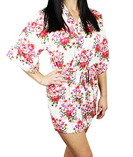 Women's Cotton Floral Pattern Lounge Robe - Pure White M/L