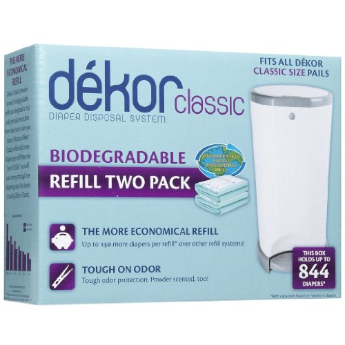 Dekor classic biodegradable refill two count baby toddler for Dekor classic diaper pail refills