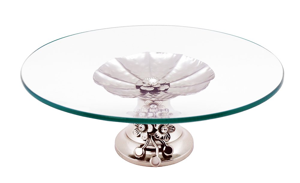 Elegant Glass Tabletop Platter Dish Tray on Metallic Silver crystal accented Base