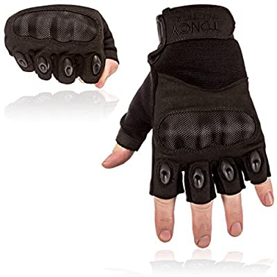 Toncy Tactical Tactical Shooting Gloves Fingerless/Half Finger Tactical Gloves with Hard Knuckle for Riding Motorcycle Airsoft Military Army Police Swat Combat By
