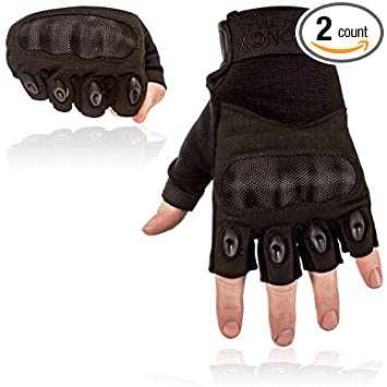 Toncy Tactical Mens Gloves Premium Quality Hard Knuckle Half Finger Fingerless Police Airsoft