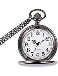 Classic Smooth Vintage Pocket Watch Silver Steel Mens Watch with 14 in Chain for Xmas Fathers Day Gift (Black)