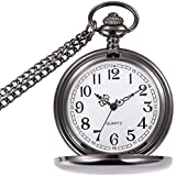 WIOR Classic Smooth Vintage Pocket Watch Sliver Steel Mens Watch with 14 in Chain for Xmas Fathers Day Gift (Black)