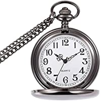 WIOR Classic Smooth Vintage Pocket Watch Silver Steel Mens Watch with 14 in Chain for Xmas Fathers Day Gift (Black)
